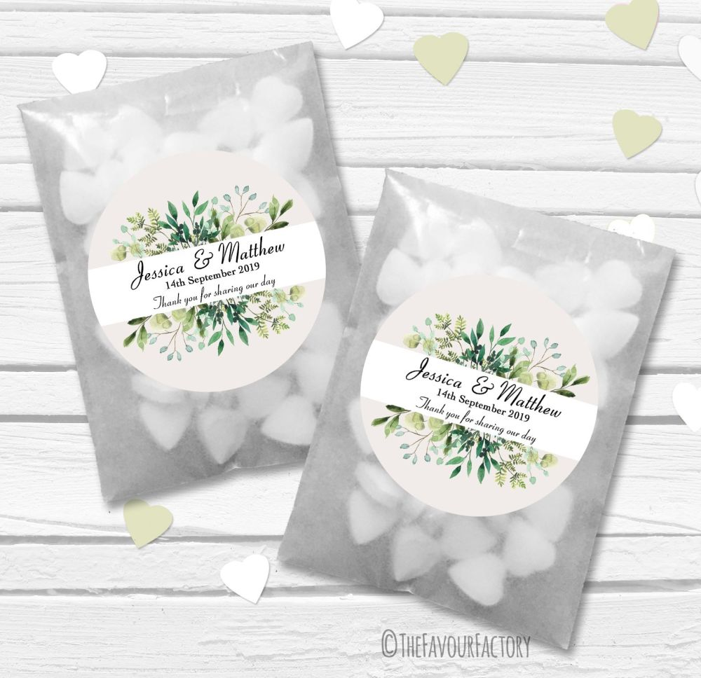 Leaves Foliage Bouquet Personalised Wedding Favour Bags Kits x12