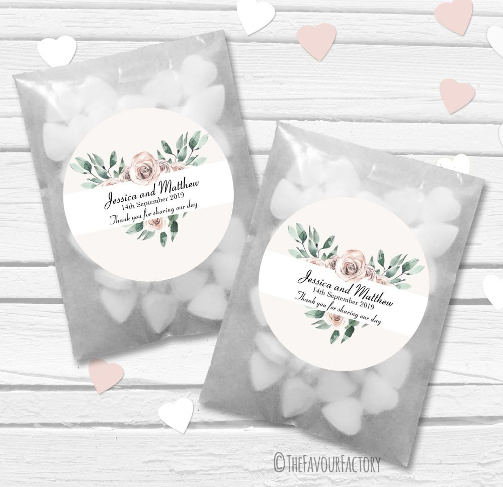 Floral Heart Bouquet Personalised Wedding Favour Bags Kits x12