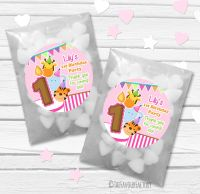 Animal Friends Girls Personalised Birthday Party Glassine Paper Sweet Bags Kits x12