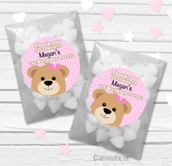 Teddy Bear Pink Personalised Birthday Party Glassine Paper Sweet Bags Kits x12