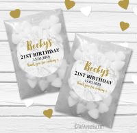 Marble Personalised Birthday Party Glassine Paper Favour Bags Kits x12