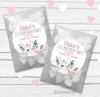 Feather Florals Personalised Birthday Party Glassine Paper Favour Bags Kits x12
