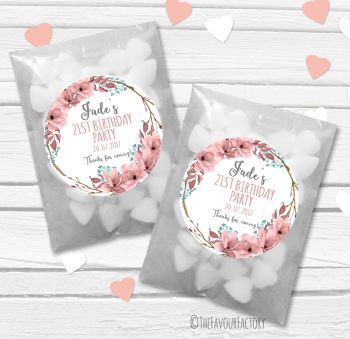 Boho Floral Wreath Personalised Birthday Party Paper Favour Sweet Bags Kits x12