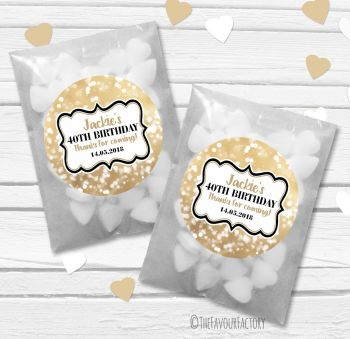 Bokeh Sparkles Personalised Birthday Party Paper Favour Sweet Bags Kits x12