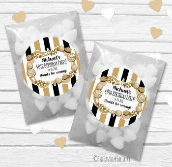 Black Gold Candy Sweets Personalised Birthday Party Paper Favour Sweet Bags Kits x12