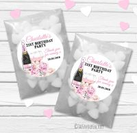 Champagne & Flowers Personalised Birthday Party Glassine Paper Favour Bags Kits x12