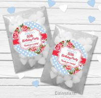 Cath Floral Polka Dots Personalised Birthday Party Glassine Paper Favour Bags Kits x12