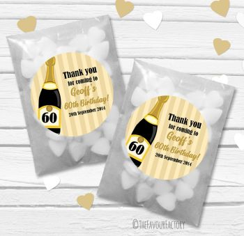 Champagne Bottle Age Personalised Birthday Party Paper Favour Sweet Bags Kits x12