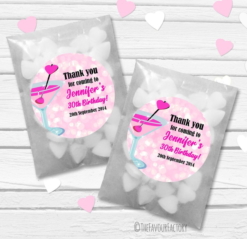 Personalised Birthday Party Glassine Paper Favour Bags Kits x12