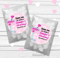 Cocktail Hearts Personalised Birthday Party Glassine Paper Favour Bags Kits x12