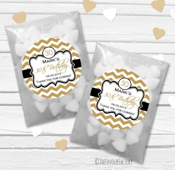 Chevron Personalised Birthday Party Glassine Paper Favour Bags Kits x12