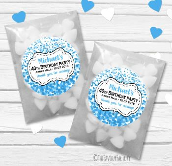 Confetti Blue Personalised Birthday Party Glassine Paper Favour Bags Kits x12