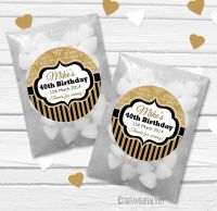 Damask Stripe Personalised Birthday Party Glassine Paper Favour Bags Kits x12