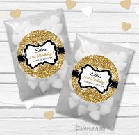 Gold Glitter Personalised Birthday Party Glassine Paper Favour Bags Kits x12