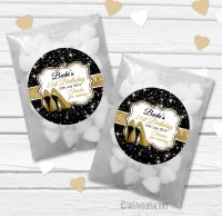 Gold Glitter Stilettos Personalised Birthday Party Glassine Paper Favour Bags Kits x12