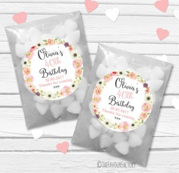 Jessica Florals Personalised Birthday Party Glassine Paper Favour Bags Kits x12