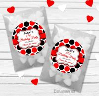 Large Polka Dots Personalised Birthday Party Glassine Paper Favour Bags Kits x12