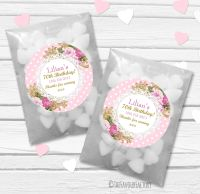 Ornate Roses Personalised Birthday Party Glassine Paper Favour Bags Kits x12