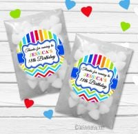 Brights Personalised Birthday Party Glassine Paper Favour Bags Kits x12