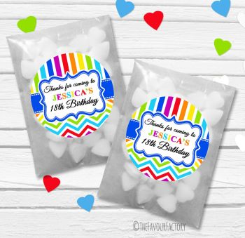 Brights Personalised Birthday Party Paper Favour Sweet Bags Kits x12