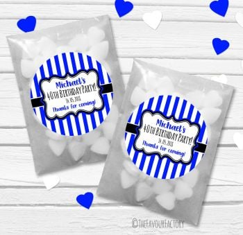 Stripes Personalised Birthday Party Glassine Paper Favour Bags Kits x12
