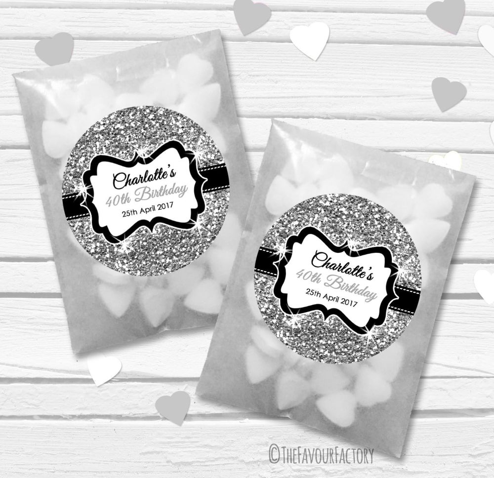 Silver Glitter Personalised Birthday Party Glassine Paper Favour Bags Kits