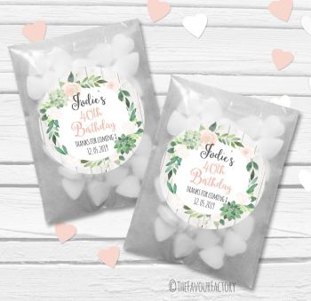 Succulents  Florals Personalised Birthday Party Paper Favour Sweet Bags Kits x12