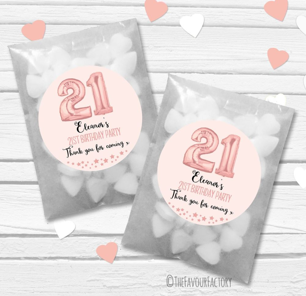 Rose Gold Age Balloons Personalised Birthday Party Glassine Paper Favour Ba