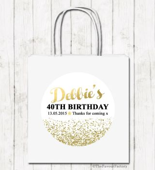 Gold Glitter Confetti Personalised Paper Birthday Party Bags x1