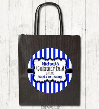 Stripes Personalised Paper Birthday Party Bags x1