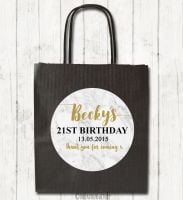 Marble Personalised Paper Birthday Party Bags x1
