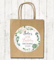 Succulents Florals Personalised Paper Birthday Party Bags x1