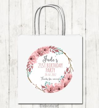 Boho Floral Wreath Personalised Paper Birthday Party Bags x1
