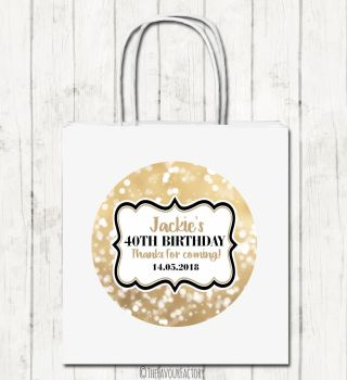 Bokeh Sparkles Personalised Paper Birthday Party Bags x1