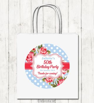 Cath Floral Polka Dots Personalised Paper Birthday Party Bags x1