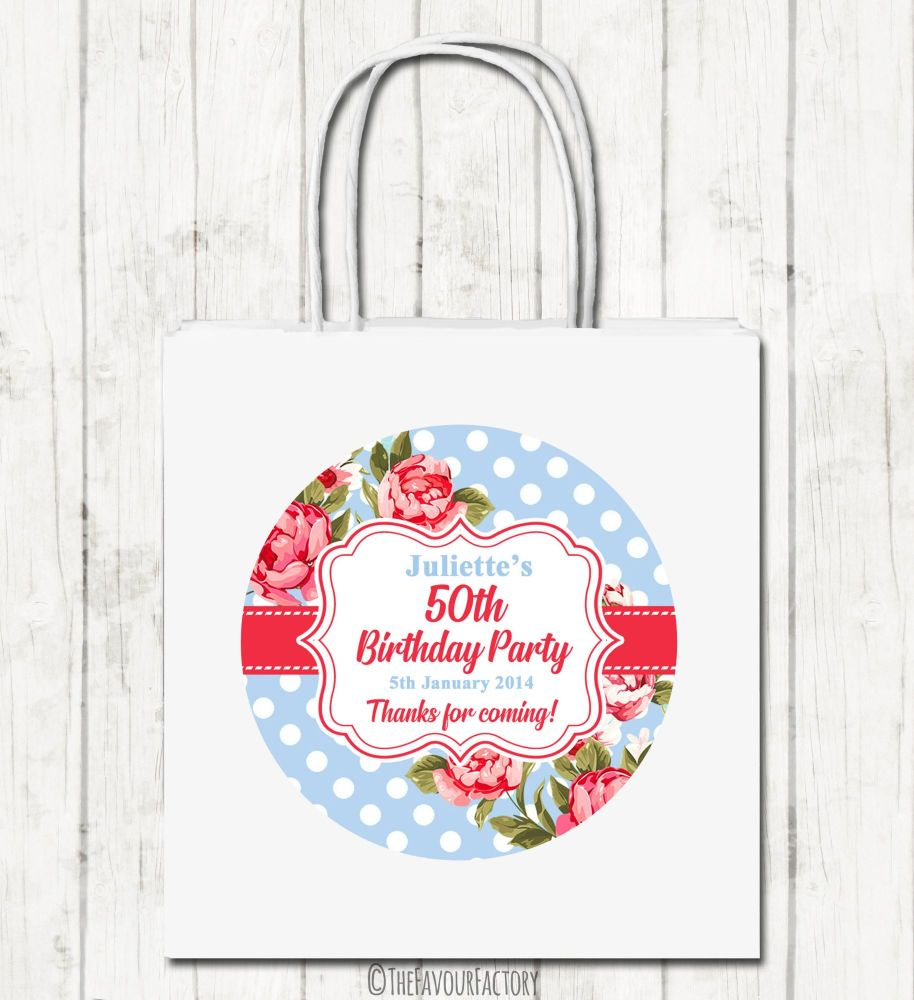 Cath Florals Polka Dots Personalised Paper Birthday Party Bags x1