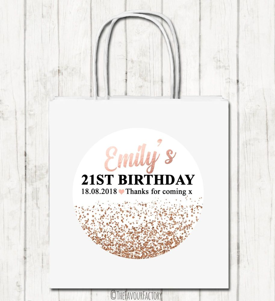 Rose gold glitter confetti Personalised Paper Birthday Party Bags x1