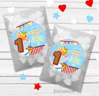 Animal Friends Boys Personalised Birthday Party Glassine Paper Sweet Bags Kits x12