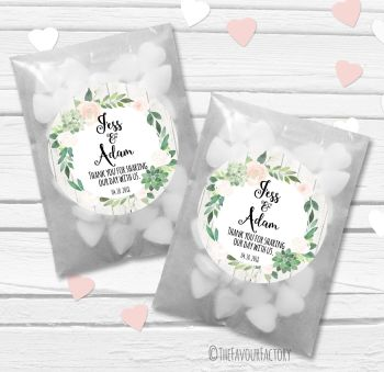 Succulents Florals Personalised Wedding Favour Bags Kits x12