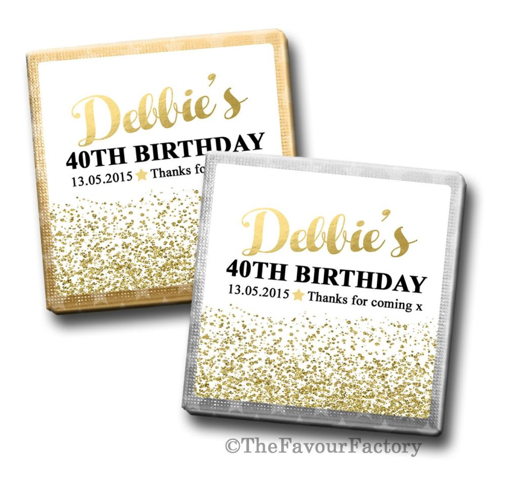 Gold Glitter Confetti Birthday Party Personalised Milk Chocolates Squares x