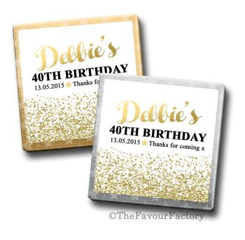 Adult Birthday Party Chocolates Favours - Personalised - Gold Glitter Confetti