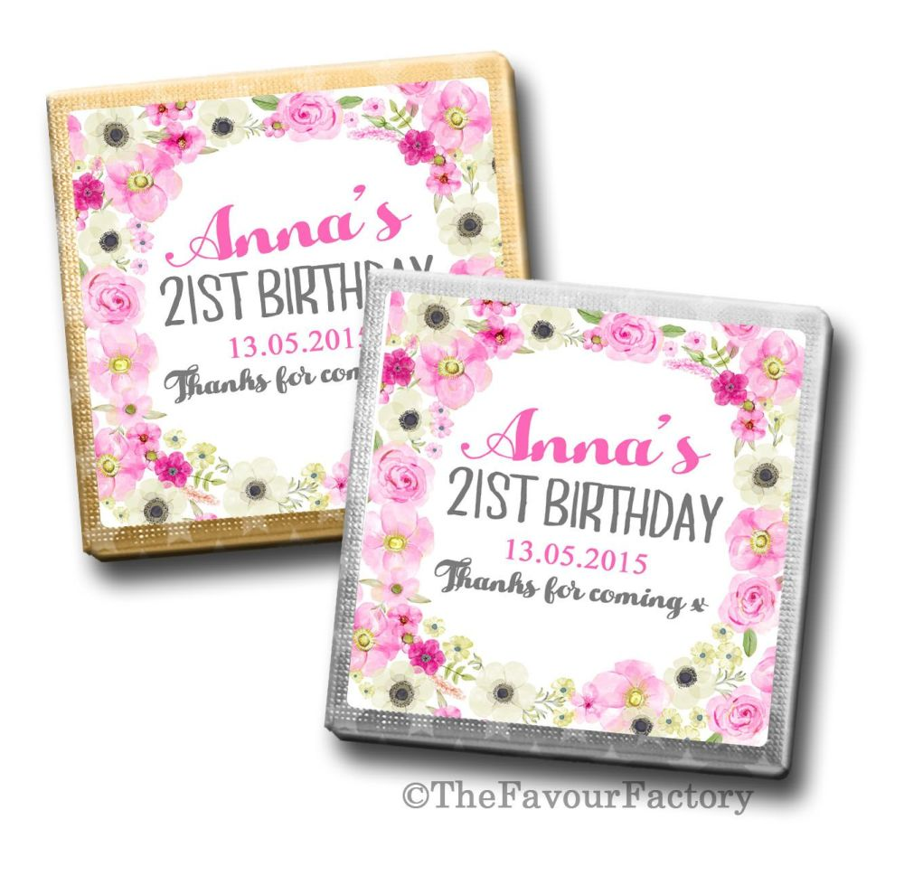 Anna florals Birthday Party Personalised Milk Chocolates Squares x