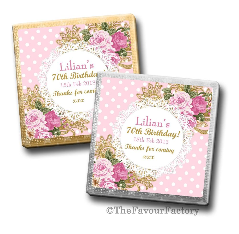 Ornate roses tea party Birthday Party Personalised Milk Chocolates Squares