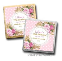 Ornate Roses Birthday Party Personalised Milk Chocolates Squares x10
