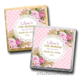 Adult Birthday Party Chocolates Favours - Personalised - Ornate Roses