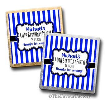 Adult Birthday Party Chocolates Favours - Personalised - Blue Stripes