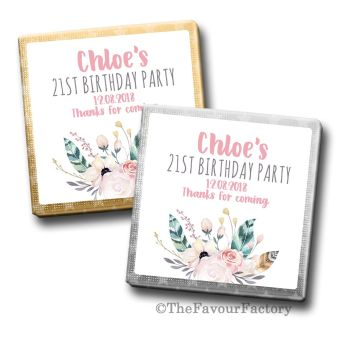 Adult Birthday Party Chocolates Favours - Personalised -  Boho Feather Florals