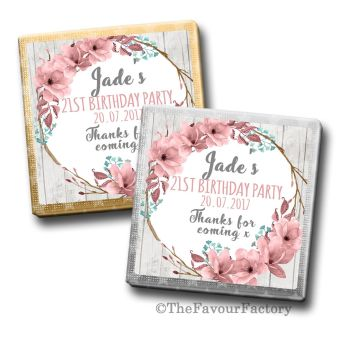 Adult Birthday Party Chocolates Favours - Personalised - Boho Floral Wreath