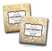 Bokeh Sparkles Birthday Party Personalised Milk Chocolates Squares x10