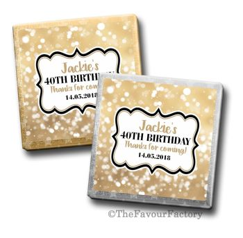 Adult Birthday Party Chocolates Milk Squares - Personalised - Bokeh Sparkles